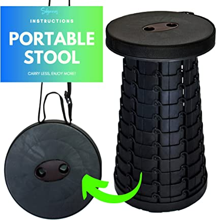 Fishing Travel Hold 330 Lb Lovinouse Upgraded Retractable Folding Stool Adjustable Height Kitchen Portable Telescoping Camping Stool Seat for BBQ