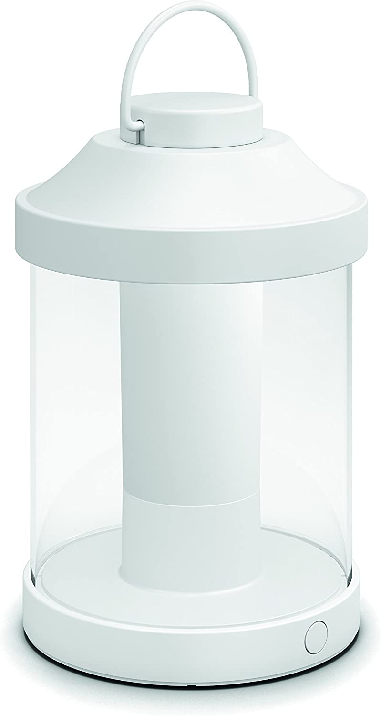 Philips Mygarden Abelia Farol LED Portátil blanco, luz regulable y recargable mediante USB, iluminación exterior