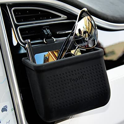 Car Air Vent Storage Bag Organizer Pocket Sunglass Holder Car Mount Phone Holder Coin Key Card Case Organizer with Hook- Black