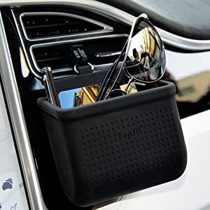 Car Air Vent Cell Phone Holder Car Mount Phone Holder Pocket Organizer Car Cradle Mount Pouch Bag Box Tidy Storage Coin Key Case Sunglasses Organizer with Hook- Black