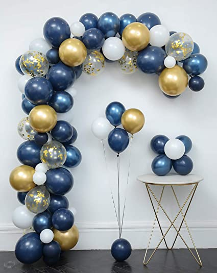 112pcs Matte Navy Blue Confetti Gold Chrome Balloon Garland Arch Kit Baby Shower Wedding Decoration Gender Reveal Birthday Party Supplies