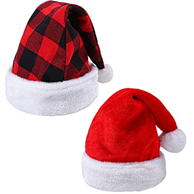 URATOT 2 Pack Christmas Santa Hat Plaid Santa Hat and Traditional Red and White Santa Hat for Christmas Costume Party(Style A): Toys & Games