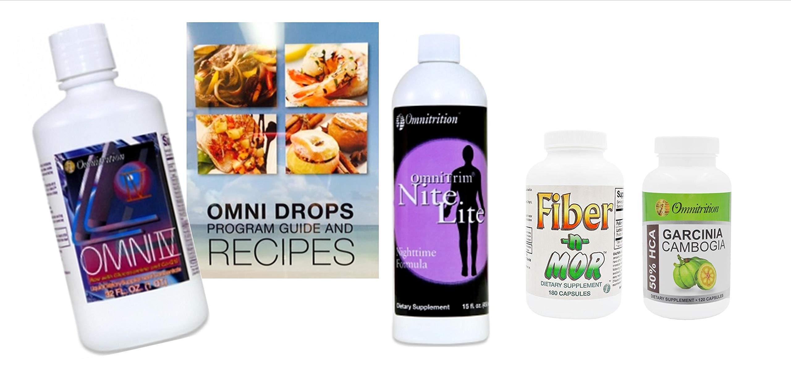 Omni Drop Program Bundle *Fab4 + GC* (Includes: Omni Drops w/Program Guide, Omni IV w/Glucosamine, OmniTrim Nite Lite, Fiber n Mor and Garcinia Cambogia Extract) by Omnitrition IMA, Authorized Distributor 66351