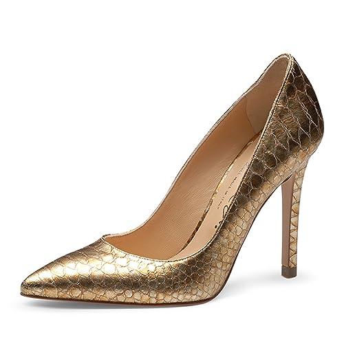 bca90f13 Evita Shoes - Zapatos de Vestir de Piel para Mujer Dorado metálico:  Amazon.es: Zapatos y complementos