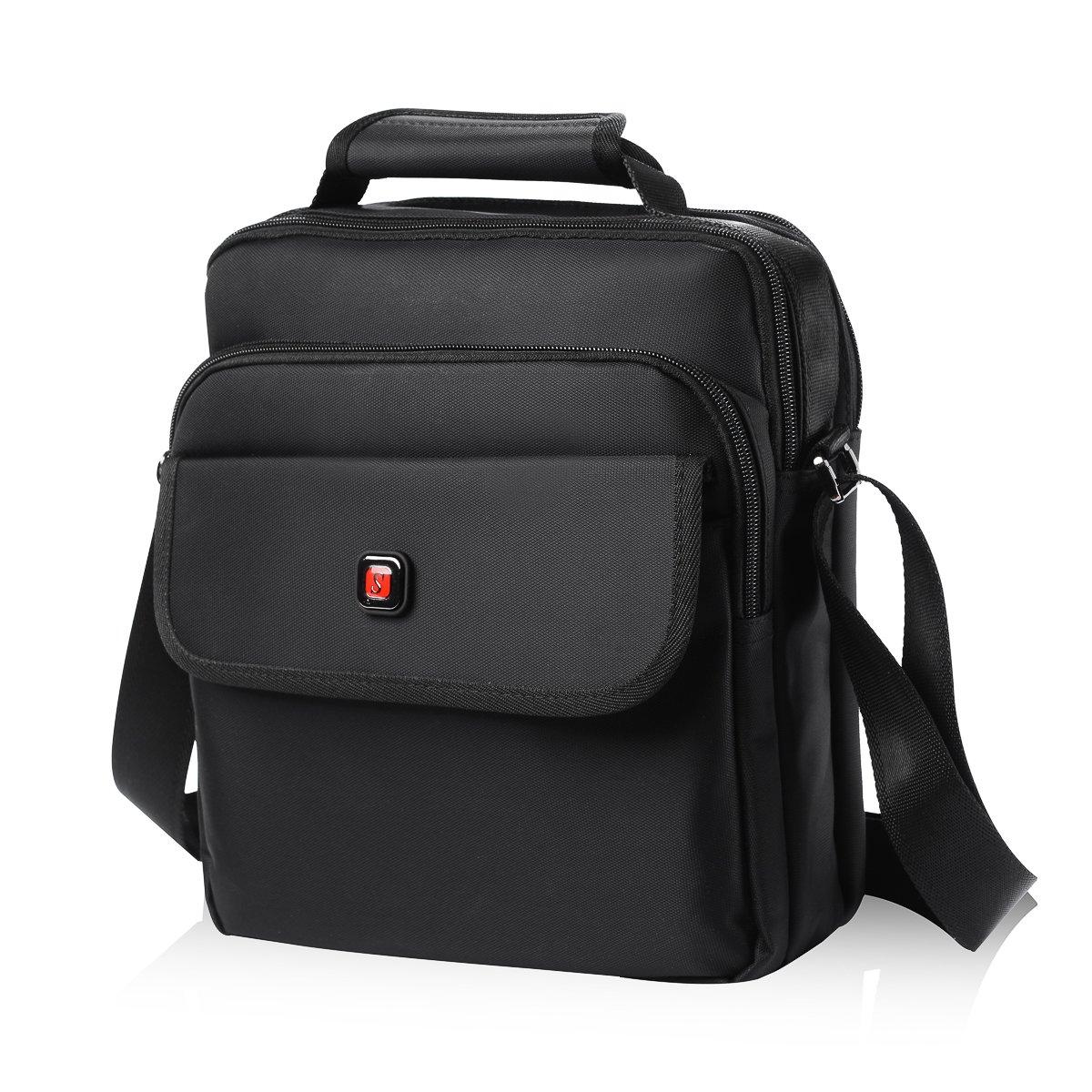 Soperwillton Vertical Shoulder Messenger Bag for iPad, Tablet and Laptop Upto 14''