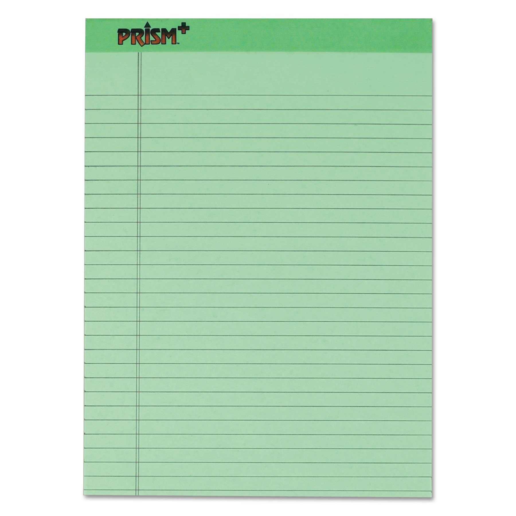 TOPS Prism Plus 100% Recycled Legal Pad, 8-1/2 x 11-3/4 Inches, Perforated, Green, Legal/Wide Rule, 50 Sheets per Pad, 12 Pads per Pack (63190)