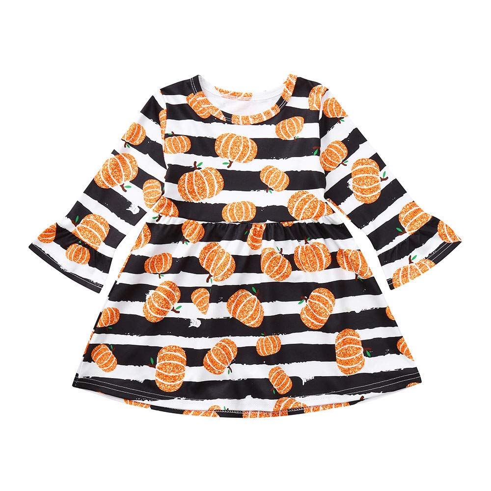 Star/_wuvi Dress Girl Baby Girl Pumpkin Bronzing Print Princess Long Sleeve Dress Halloween Outfits