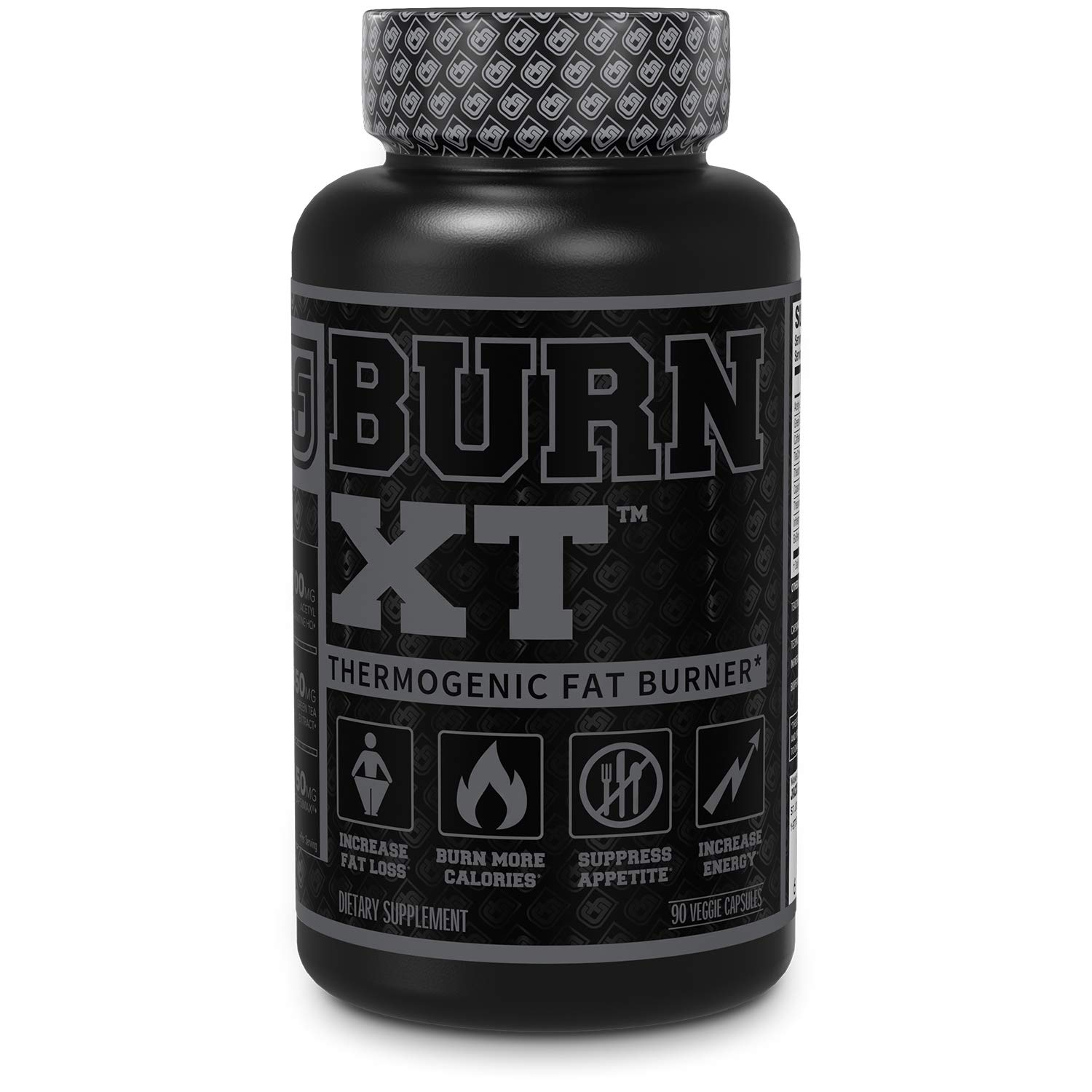 Burn XT Black Thermogenic Fat Burner - Weight Loss Supplement, Appetite Suppressant, Nootropic Energy Booster W/TeaCrine - Premium Acetyl L-Carnitine, Green Tea Extract, Capsimax - 90 Veg Diet Pills by Jacked Factory