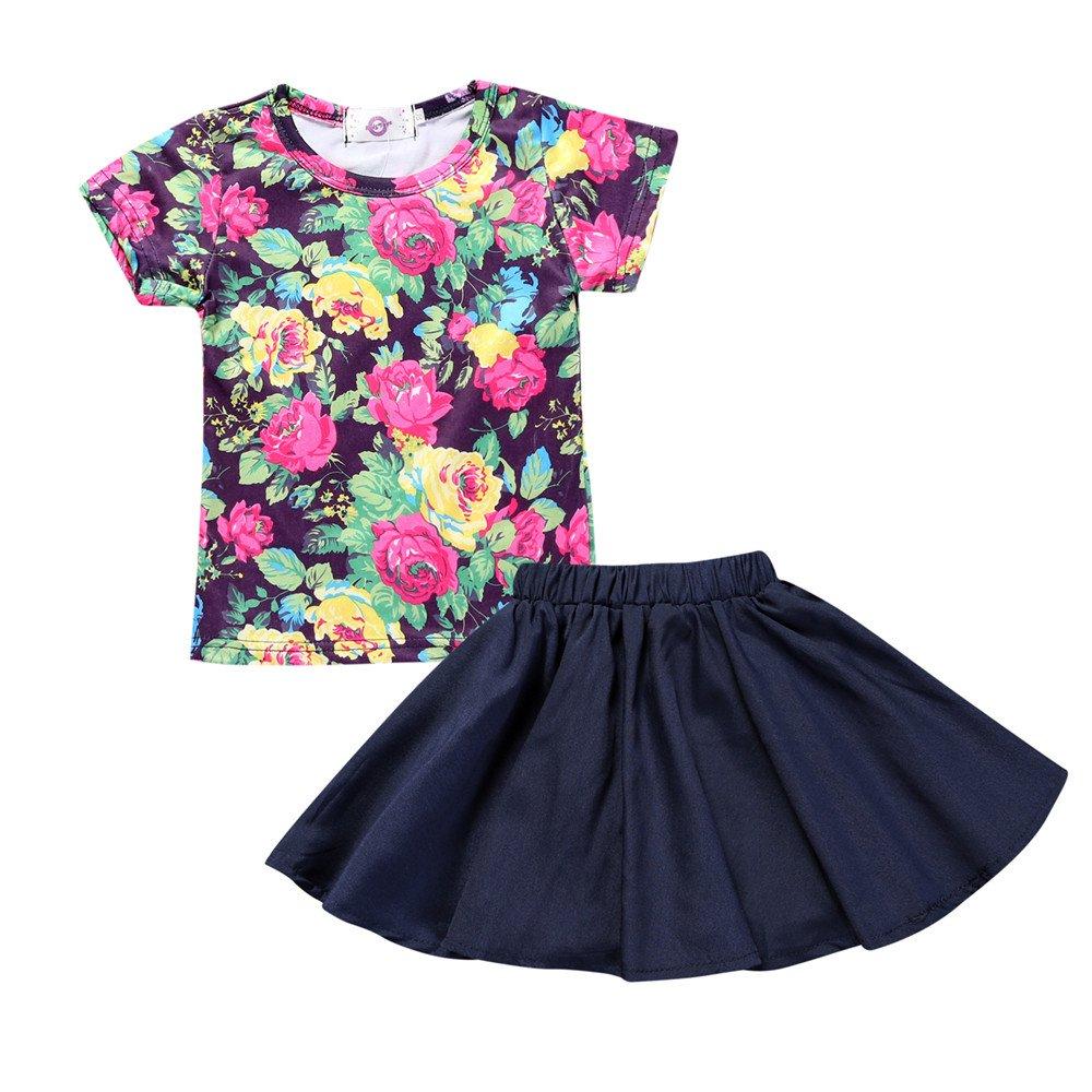 Kids Tales Girl's Skirt Set Flower Short T-shirt Summer 2pc Outfits Fuzhou Shang Ku Trade Co. Ltd.