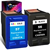 ColoWorld Remanufactured Ink Cartridge Replacement for HP 56 57 56XL 57XL Combo Pack (1 Black,1 Color) for OfficeJet 5610 611