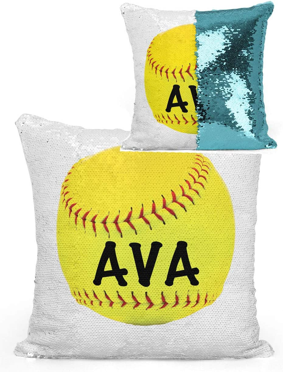 Violet Victoria Fan Star Personalized Softball Sequin Mermaid Flip Pillow-Turquoise with Pillow