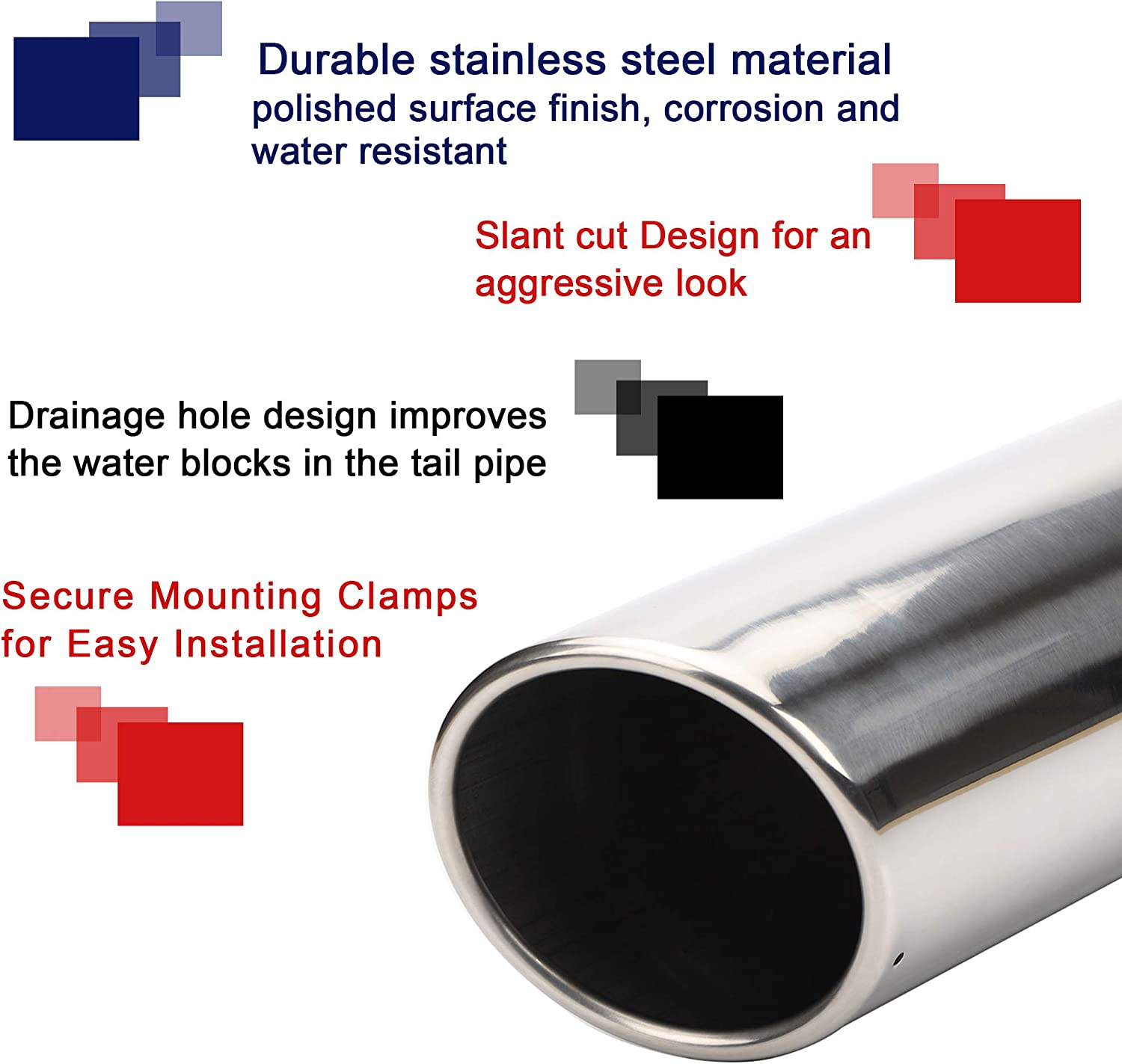 3 inlet to 4 outlet Exhaust TIP,3 x 4 x 12 Inches Chrome Polished Stainless Steel Exhaust Tip Bolt On Design