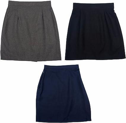 Falda de Uniforme de Trabajo para niñas, Color Negro, Gris y Azul ...