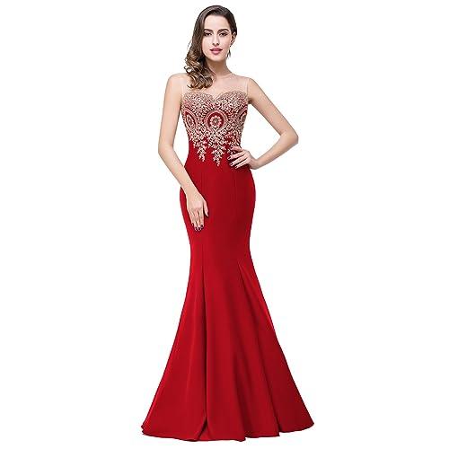 Babyonlinedress Vestido para fiesta de noche y para boda estilo sirena y elegante escote redondo sin
