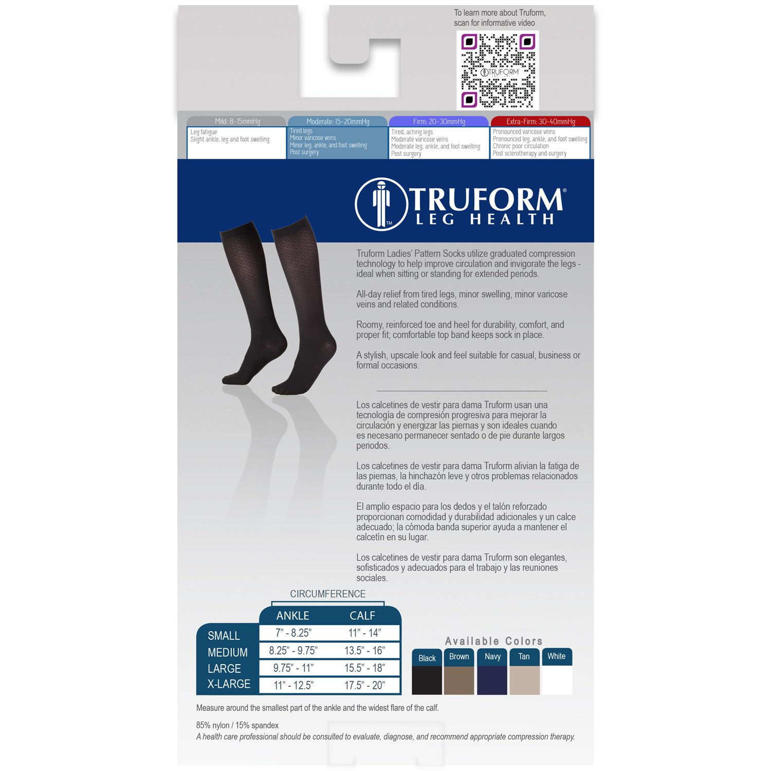 Amazon.com: Truform 1976 Womens Trouser Socks, Dress Style, Diamond Pattern: 15-20 mmHg, Black, X-Large (Pack of 2): Health & Personal Care