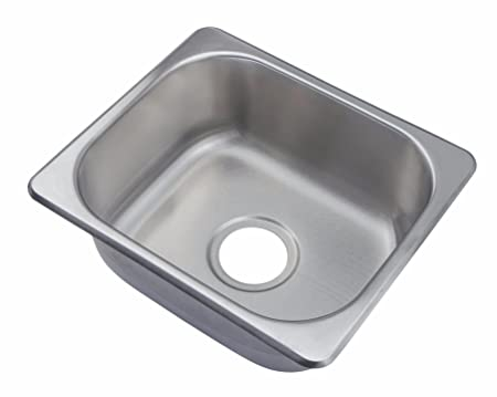Small Brushed Stainless Steel Inset Single Rectangle Bowl Kitchen ...