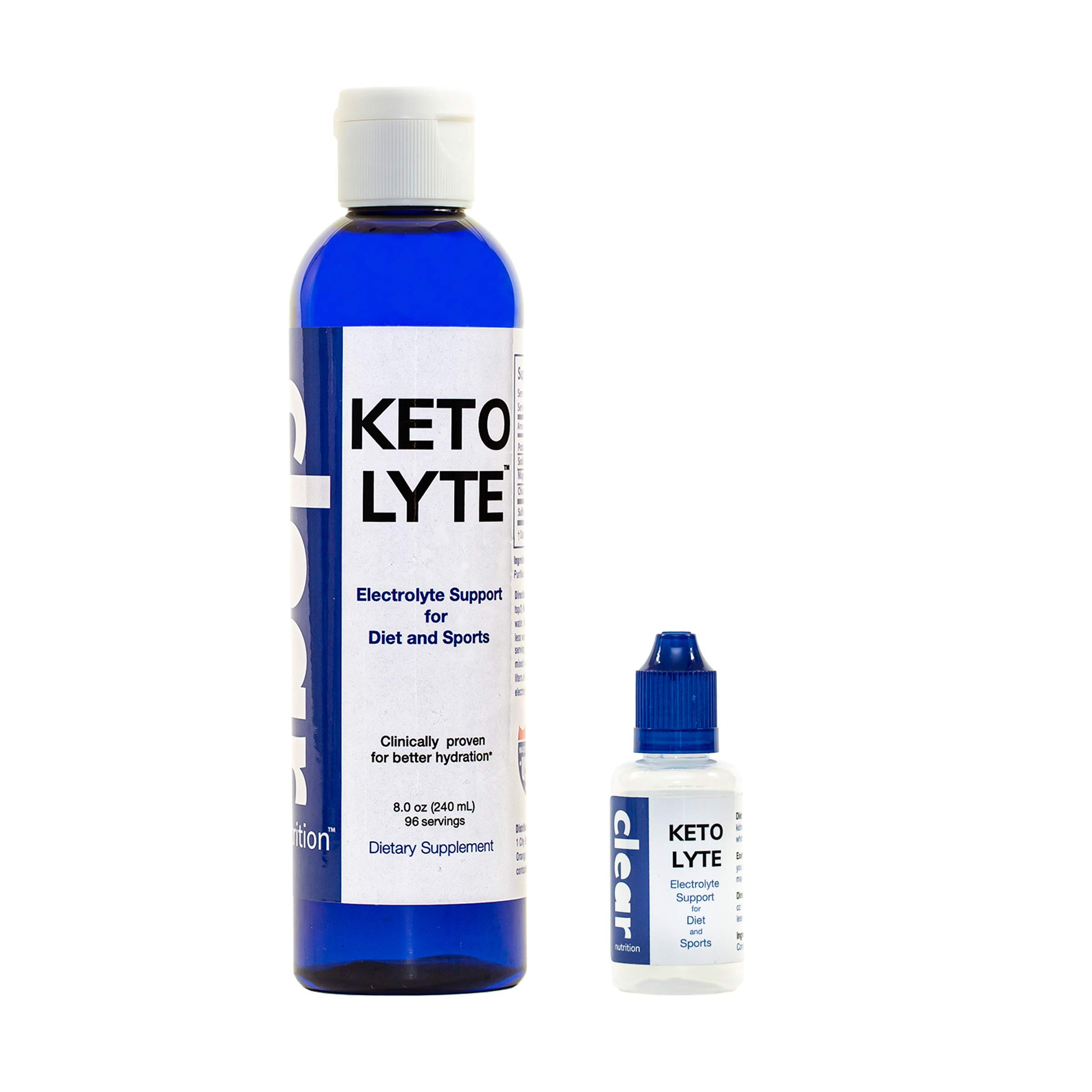 Keto Lyte Electrolyte Drops for Keto Flu, Leg Cramps | Rapid Hydration | NO Sugar - NO CARB - NO ADDITIVES | Made in USA | (8.0 oz - 96 Servings) by Clear Nutrition