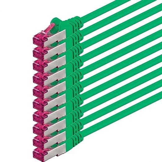4 opinioni per 0,5m- verde- 10 pezzi- Rete Cavi Cat6a | S-FTP | CAT 6a | doppia schermatura-