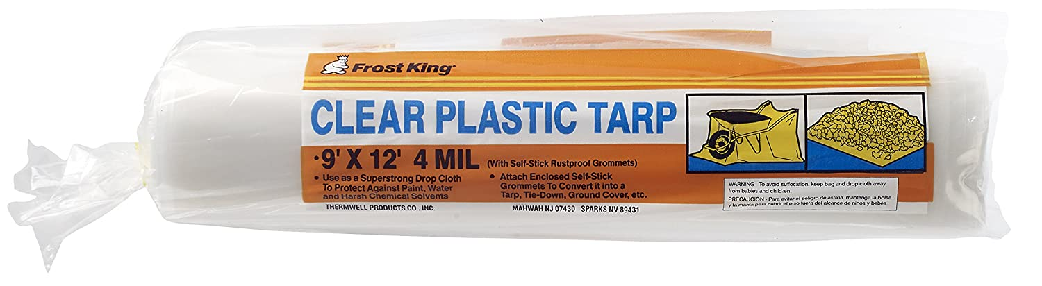 Frost King P912G Clear Plastic Drop Cloth, Tarp-Strength, with Grommets, 9'. Wide x 12'. Long x 4 Mil. Thick 9' . Wide x 12' . Long x 4 Mil. Thick