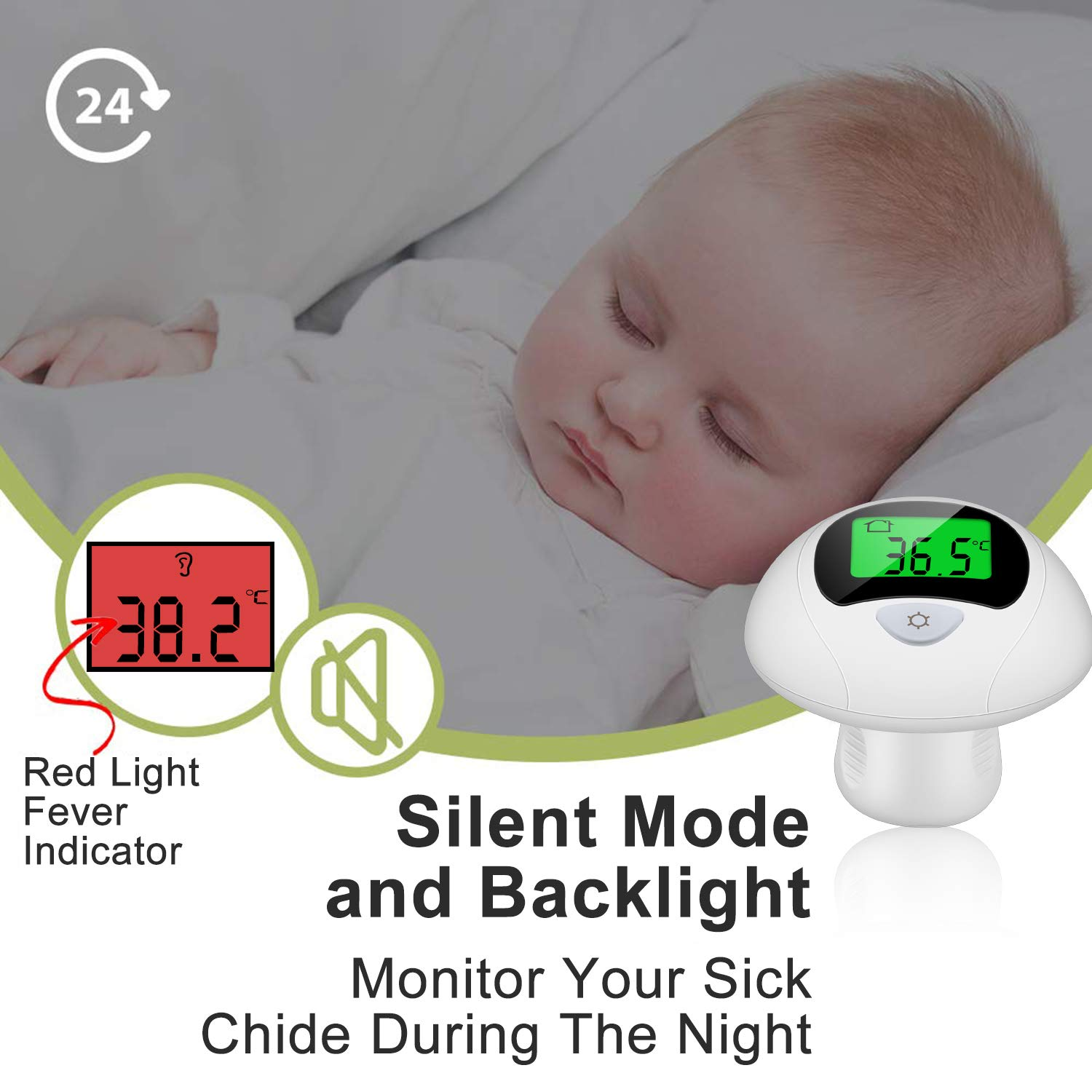 4-in-1 Professional Precision Digital Thermometer,Instant Read,F /& ℃Convertible,Mute Function Viedouce Thermometer Ear Thermometer Forehead Thermometer for Baby Children and Adults