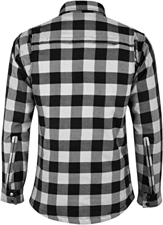 3XL Vaster Lumberjack Reinforced Motorcycle Motorbike Check Shirt CE Armoured shirt for Men Boys Removable Protections WHITE//Black