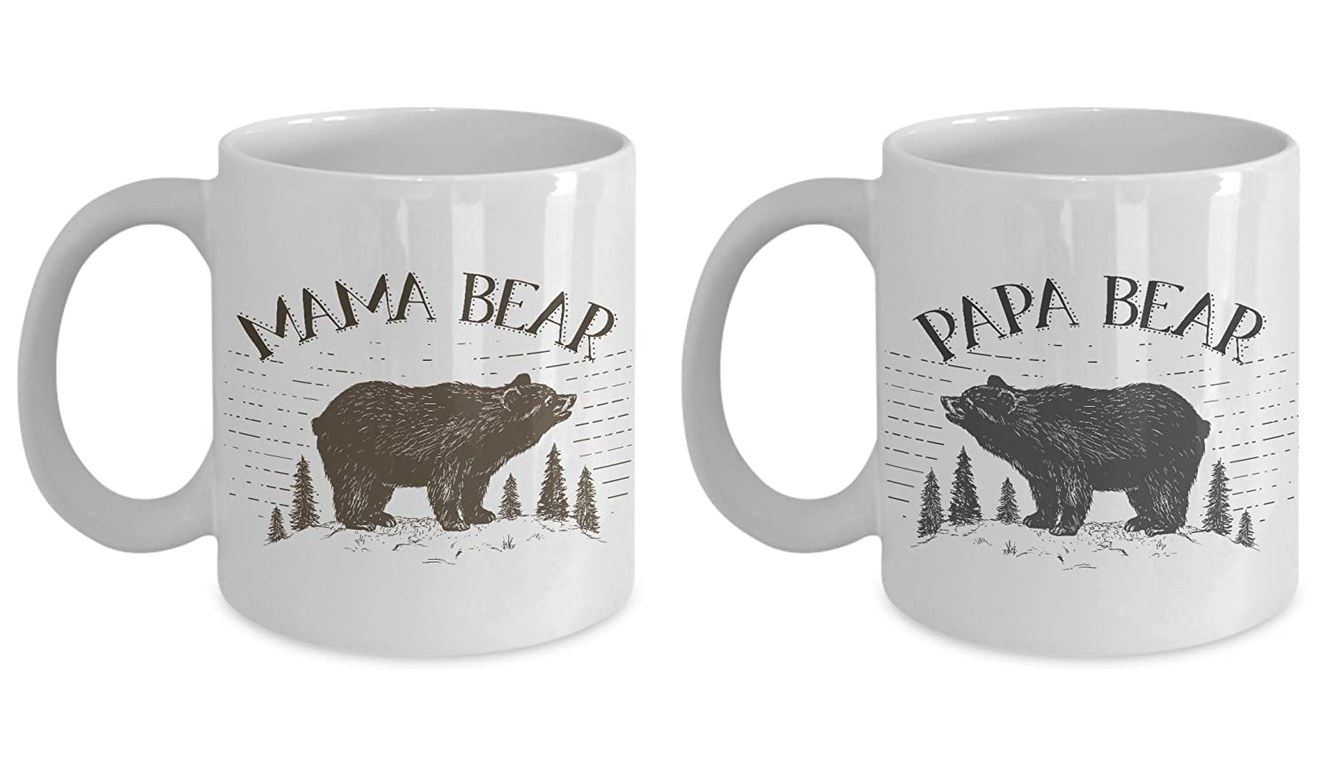Papa Bear and Mama Bearマグカップギフトセット – UniqueギフトIdea for Mom and Dad。Make Them Proud On Their誕生日、クリスマス、父の日。母の日。 11oz B071WP8DH9  ホワイト 11oz