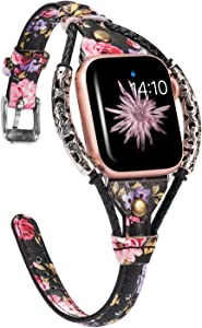 Wearlizer Leather Compatible with Apple Watch Bands 42mm 44mm for iWatch SE Womens Handmade Twist Strip Black Pink Floral Strap with Rivet Wristband Bracelet,Silver Clasp for Series 6 5 4 3 2 1