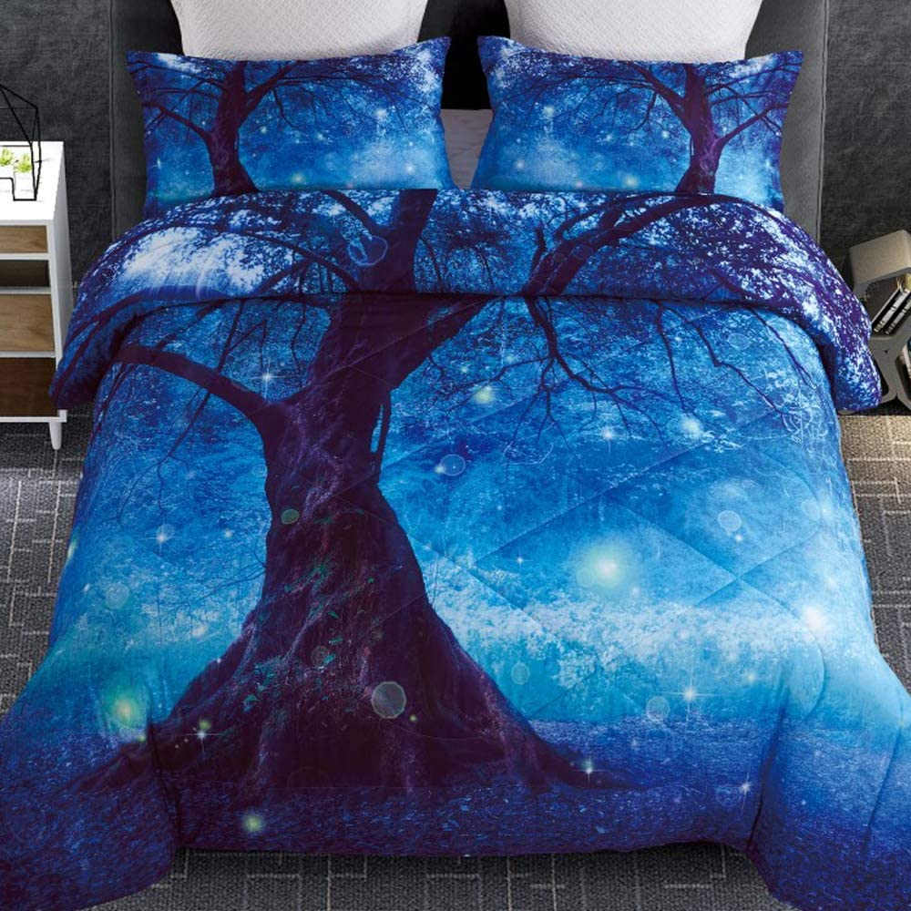 Multi-E, Queen A Nice Night Multicolor Blue Bubbles Galaxy Cats Printed,for Boys and Girls Quilt Comforter Sets with Pillowcases Child Bedding Sets