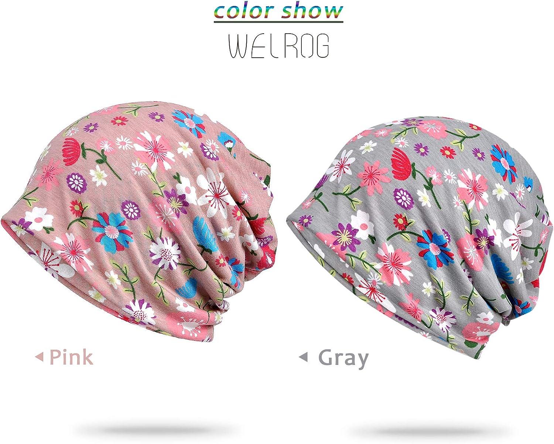 WELROG Chemo Hat Woman Lace Headscarf Superweiche Slouchy Turban Headgear Head Wraps