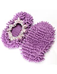 Japsom Unisex Multifunctional Chenille Microfiber Dust Mop Slippers Purple