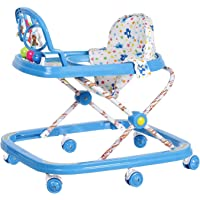 NHR Classic Baby Walker with Rattles, Hanging Toys and Adjustable Height (Red, Blue, 6-12 Months)