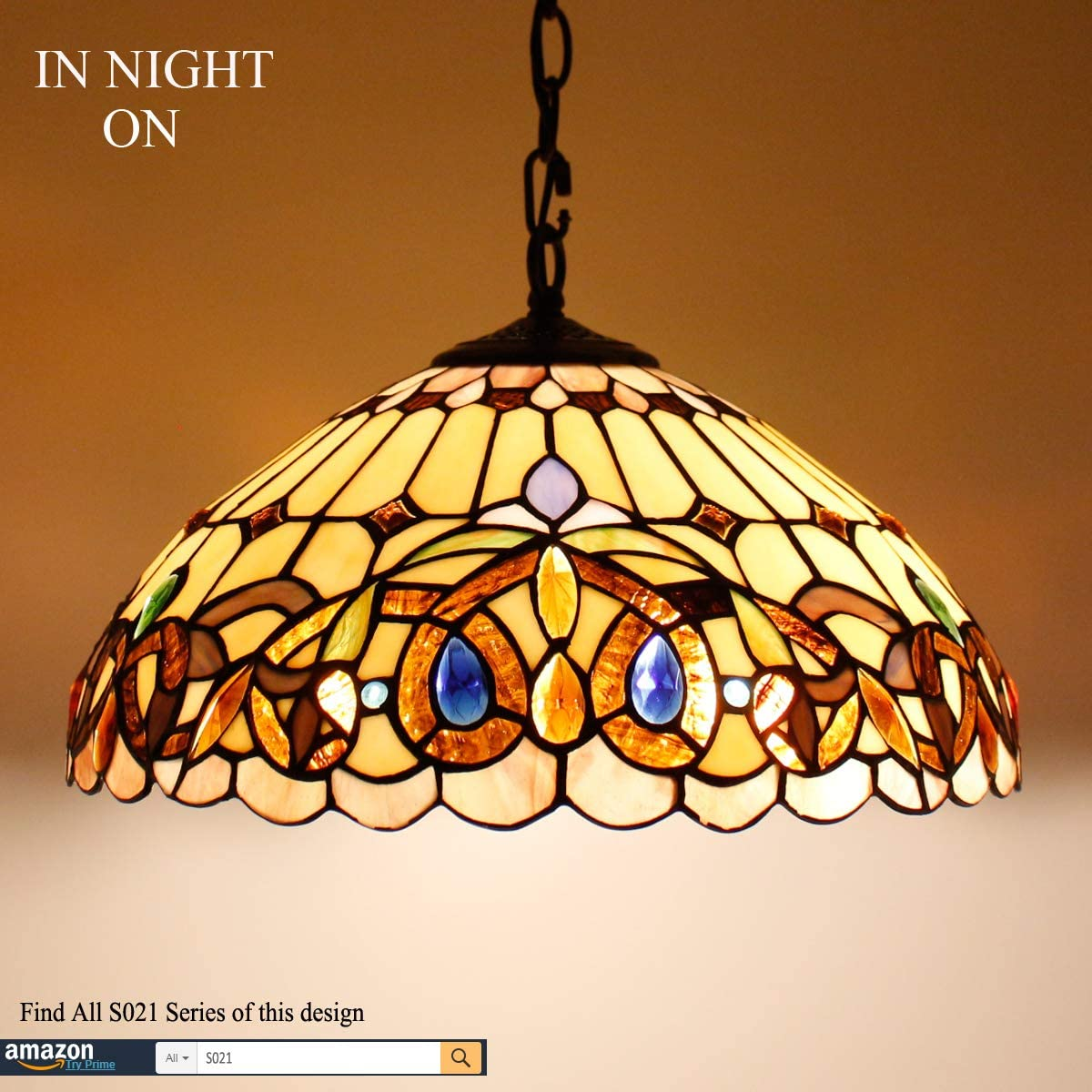 Tiffany Hanging Lamp 16 Inch Pull Chain Serenity Victorian Stained Glass Lampshade Anqitue Chandelier Ceiling Style Pendant 2 Light Fixture Decorate Dinner Room Living Room Bedroom S021 WERFACTORY