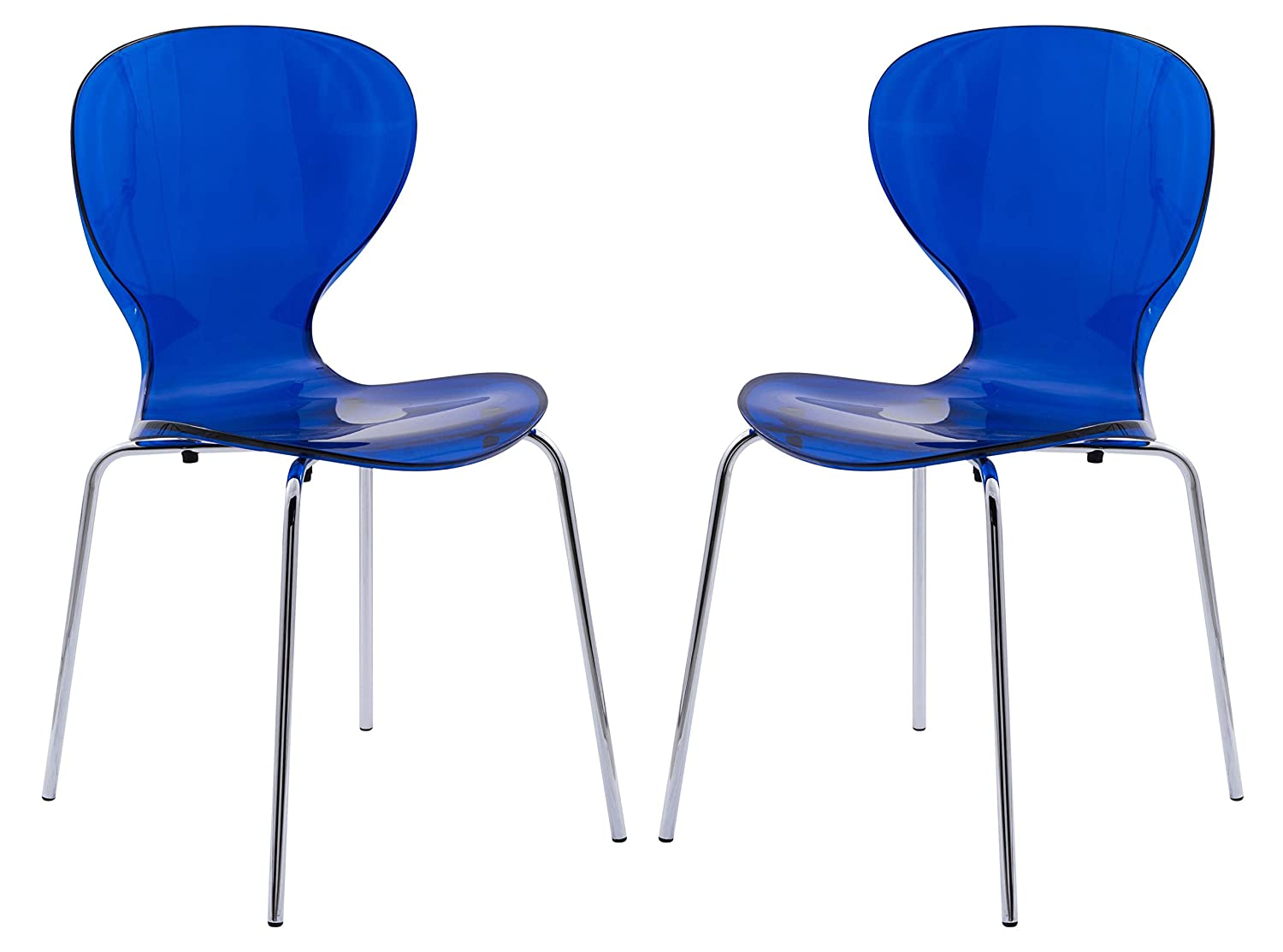 LeisureMod Carson Mid-Century Dining Side Chair, Set of 2 Transparent Blue