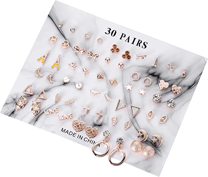 LFYXCW 30 Paires Lot de Assorties Multiples Boucles Doreille Bijoux pour Filles Femmes Or Rose,Hypoallergenique