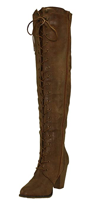 b71466d350a Forever Women's Camila-48 Chunky Heel Lace up Over The Knee Riding Boots  (6) Tan