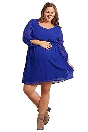 e7814b3308 PinkBlush Maternity Royal Blue Chiffon Plus Size Dress