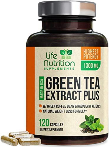 Green Tea Extract 98 Standardized EGCG for Natural Weight Support 1000mg – Supports Heart Health, Metabolism Energy with Antioxidants Polyphenols – Gentle Caffeine, Made in USA – 120 Capsules
