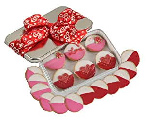 Gourmet Happy Valentines Day Cookie Gift Basket, Hand Decorated colored Black And White Cookies Unique Love Elegant Kosher Food Gift Box For Him Her Boy Girl Friend Spouse Wife 18 Count Prime Delivery