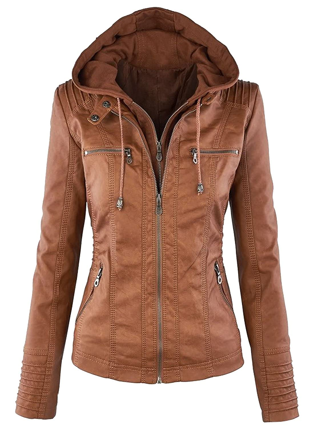 Azbro Women's Fashion Faux Leather Jacket with Detachable Hood