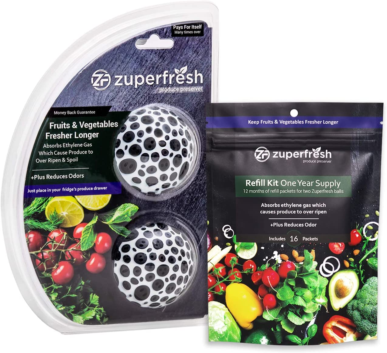 Zuperfresh Produce Saver Combo Pack 1 Year Supply, Extend the Life of Your Fruits & Vegetables, Absorbs Ethylene Gas Which Cause Produce to Over Ripen & Spoil