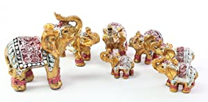 Feng Shui Set of 7 ~ Vintage Small Gold Indian Elephant Family Statues Wealth Lucky Figurines Home Decor Housewarming Congratulatory Gift US Seller