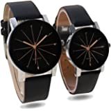 ecbatic Analogue Black Dial Men's & Women's Couple Watch - Hk-01-Men-Women