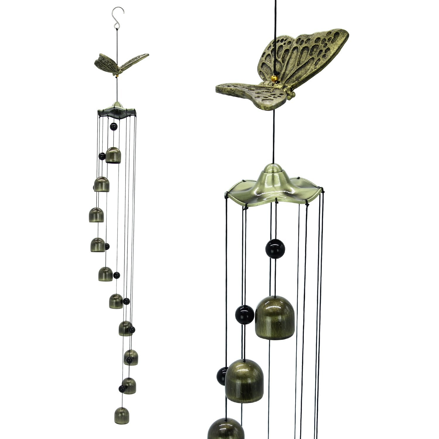 Astarin Butterfly Wind Chimes- 33'' Large Copper Wind Chimes 10 Wind Bells, Memorial Sympathy Wind Chime Clear Sounds, Decorative Wind Chimes Garden Home Patio Yard Indoor, Golden