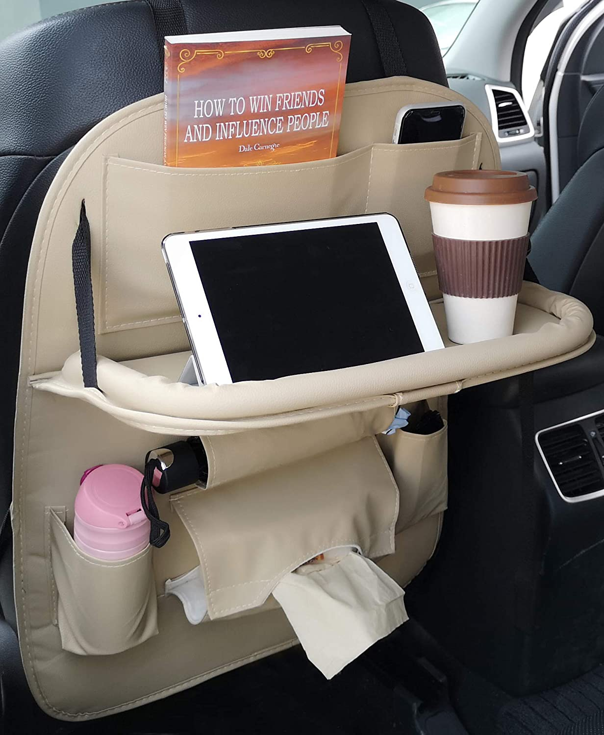 Patas Lague Car Seat Organizer with Foldable Table Tray Travel Accessories Organizer Pu Leather Back Seat Protector with Cup Holder One Pack,Black