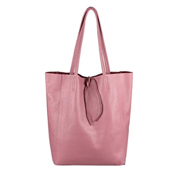 0200d65bd550f OBC Made in Italy Damen Leder Tasche DIN-A4 Shopper Schultertasche  Henkeltasche Tote Bag Metallic