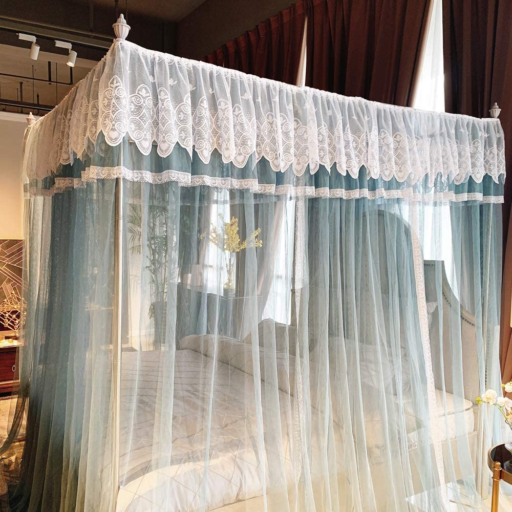 Royal Luxurious Cozy Drape Netting Cute Princess Bedroom Decoration 4 Opening Mosquito Net Blue, Full//Queen Joyreap 4 Corners Lace Canopy Bed Curtain for Girls /& Adults