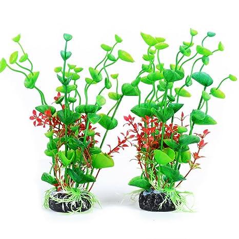 2pcs Plantas Acuario Pecera Acuaticas Plástico Artificiales Decoración Color Verde