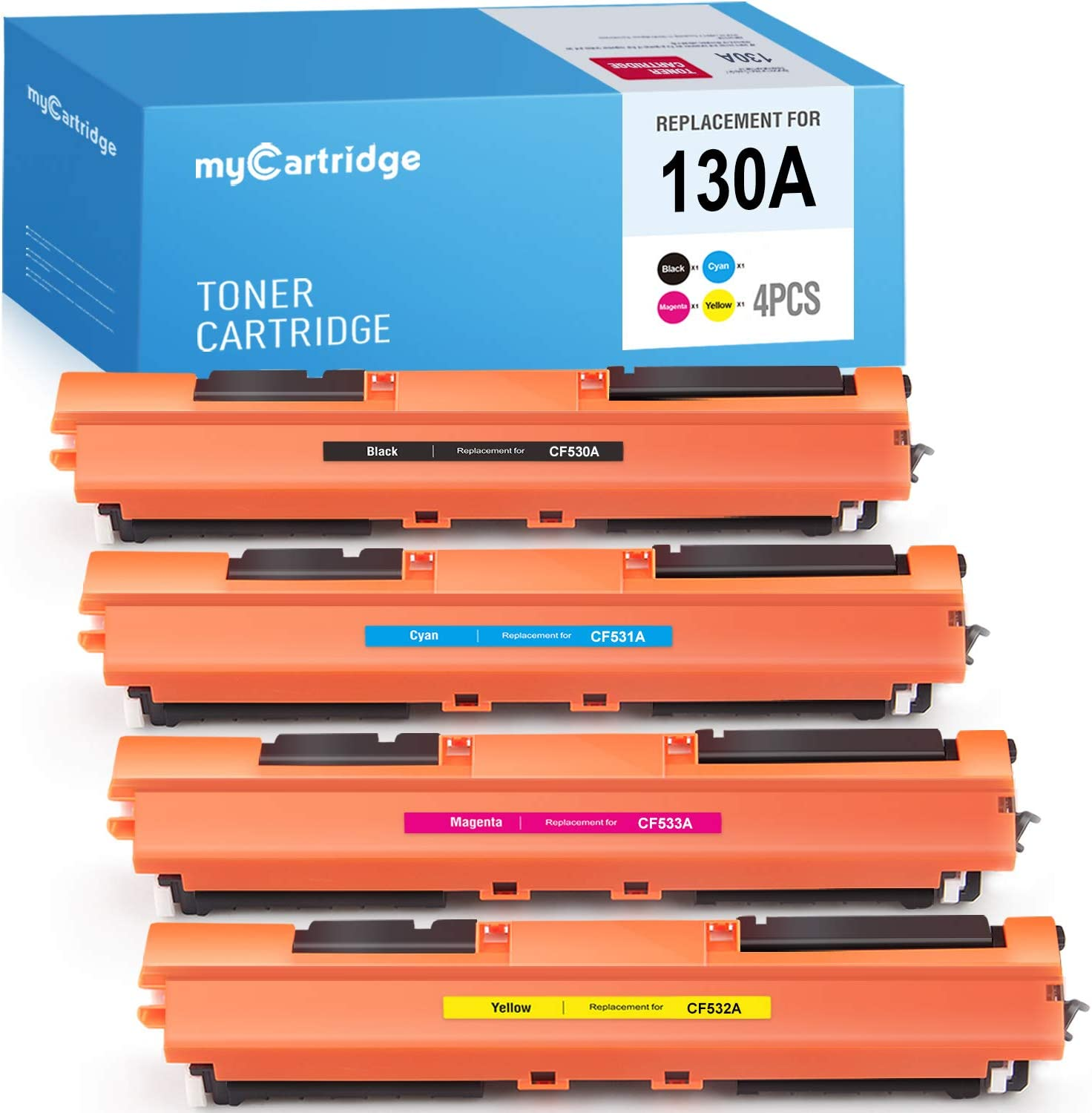 MYCARTRIDGE Compatible Toner Cartridge Replacement for HP 130A CF350A CF351A CF352A CF353A use with Color Laserjet Pro MFP M177fw M176n (Black, Cyan, Magenta, Yellow, 4-Pack)