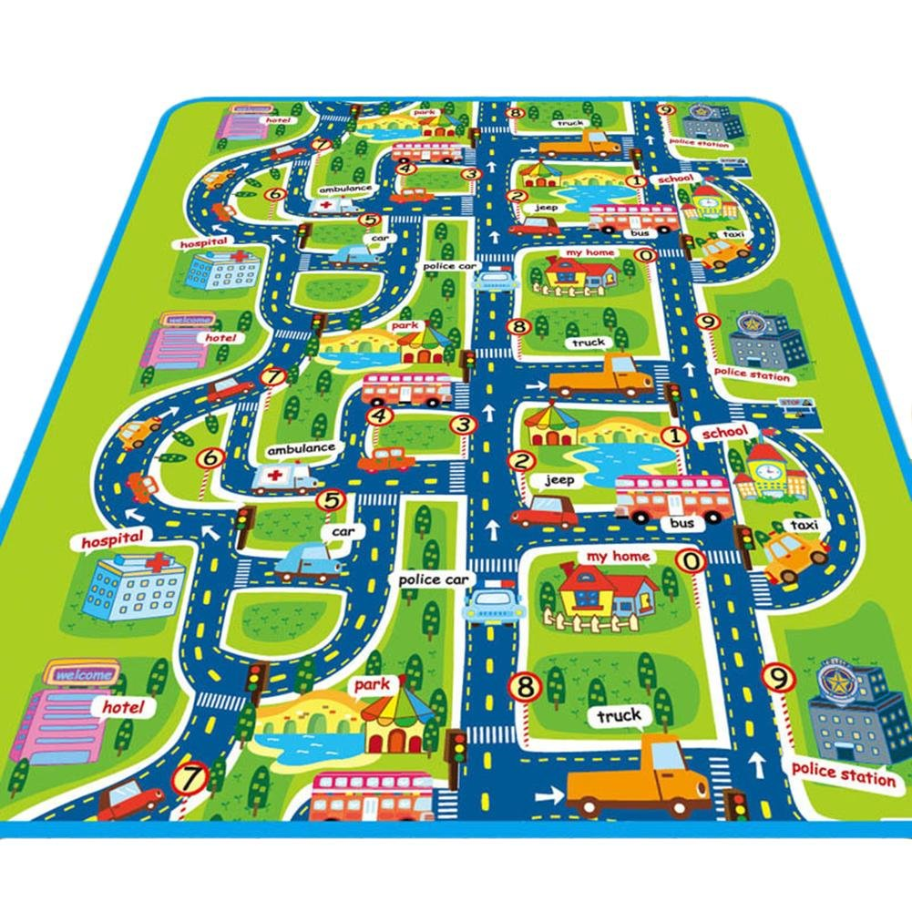 Children's Rug Play Mat, Ideal for Playing with Cars and Toys Playing, Learning and Fun, Children Educational Road Traffic Play Mat, for Bedroom Playroom Game Safe Area Children's Rug Play Mat Sheep-H