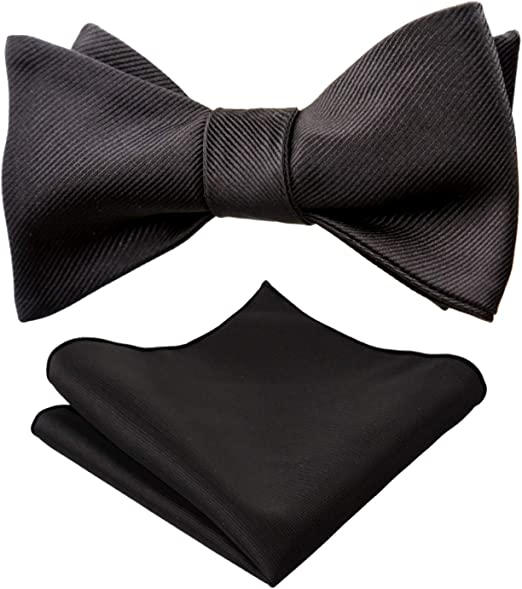 Solid Untied Bow Ties for Men Classic Satin Self Tie Bowtie Hanky Set by HISDERN